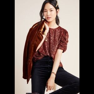 NWT Anthropologie Marie Sequin Puff Sleeve Top 14